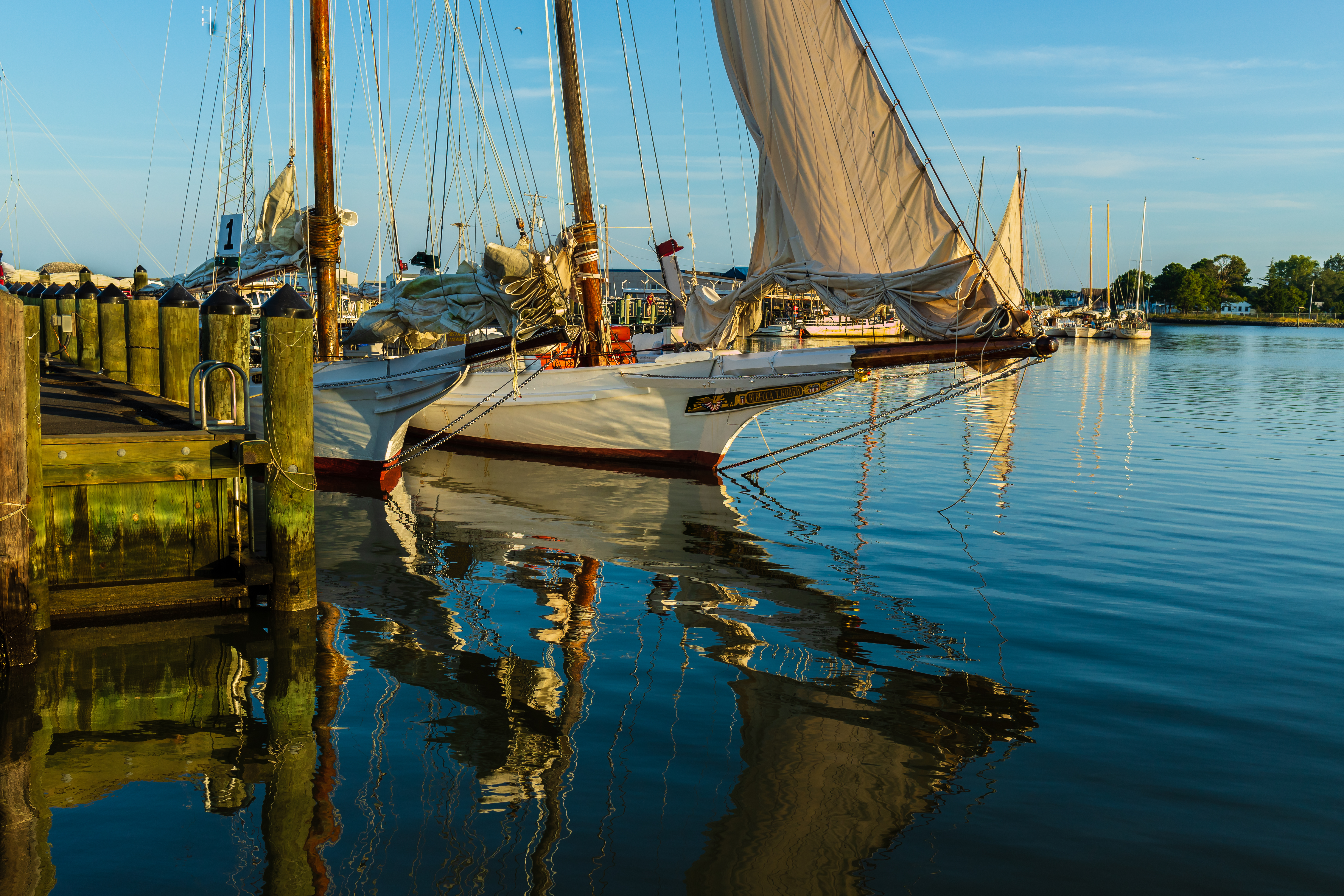 Skipjack Rebecca T Ruark at dock just after dawn