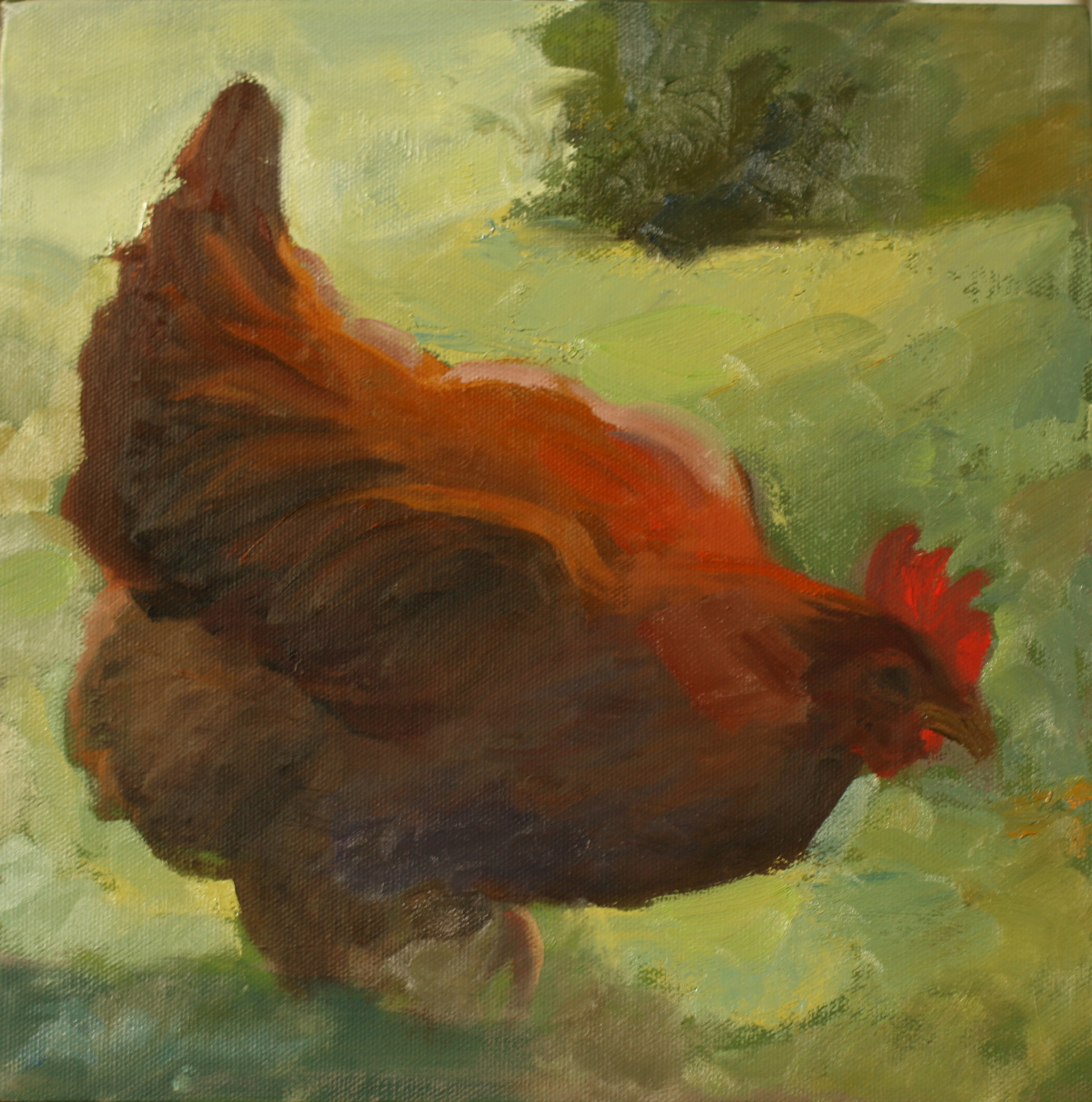 Oil painting of chicken