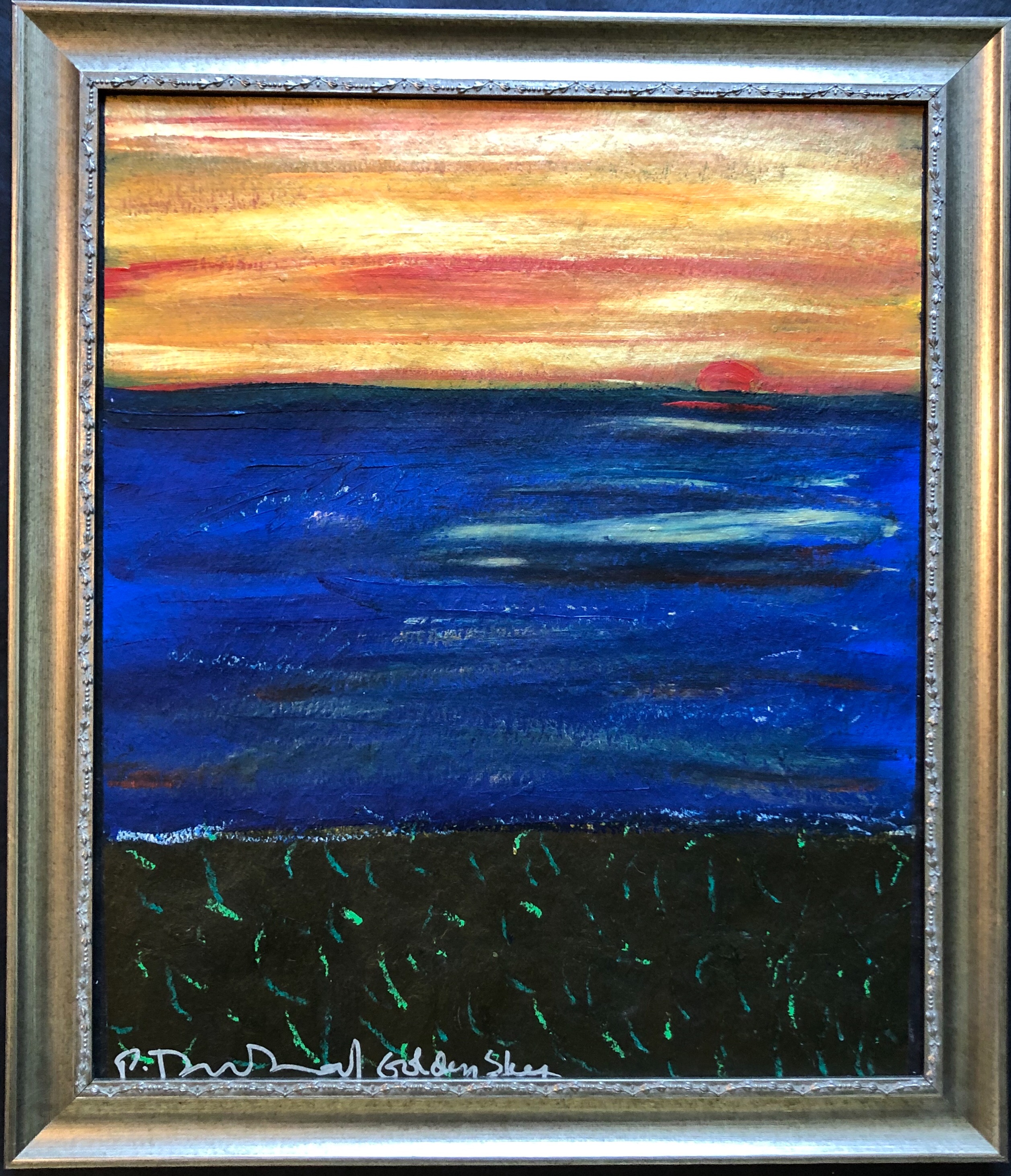 Original painting done while witnessing a beautiful golden sunset at Ocean City