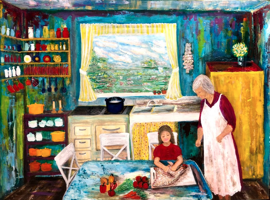 Commissioned artwork of 1940s kitchen with grandma & a little one making chicken soup