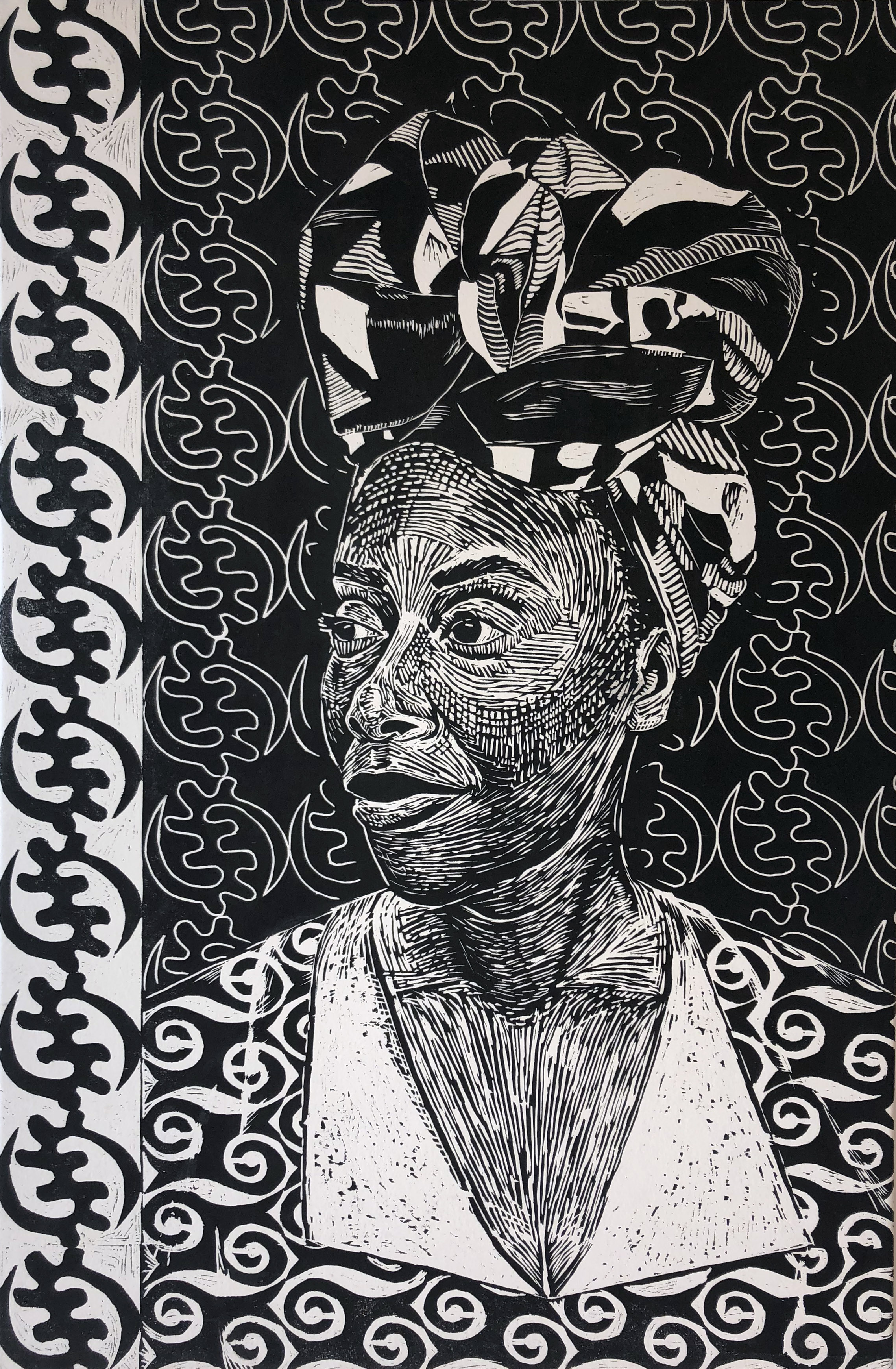 woodcut, relief carving, portrait, printmaking, ink, black women, figurative art, contemporary art