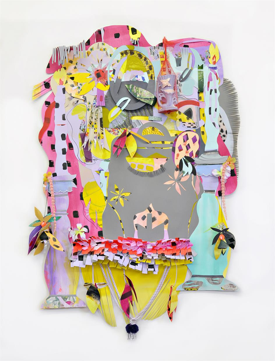 This piece utilizes painted and drawn elements, cutting and folding the paper, collage, and found objects.