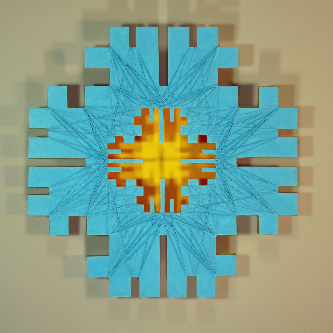 geometric abstraction studying the sky, wall hung sculpture