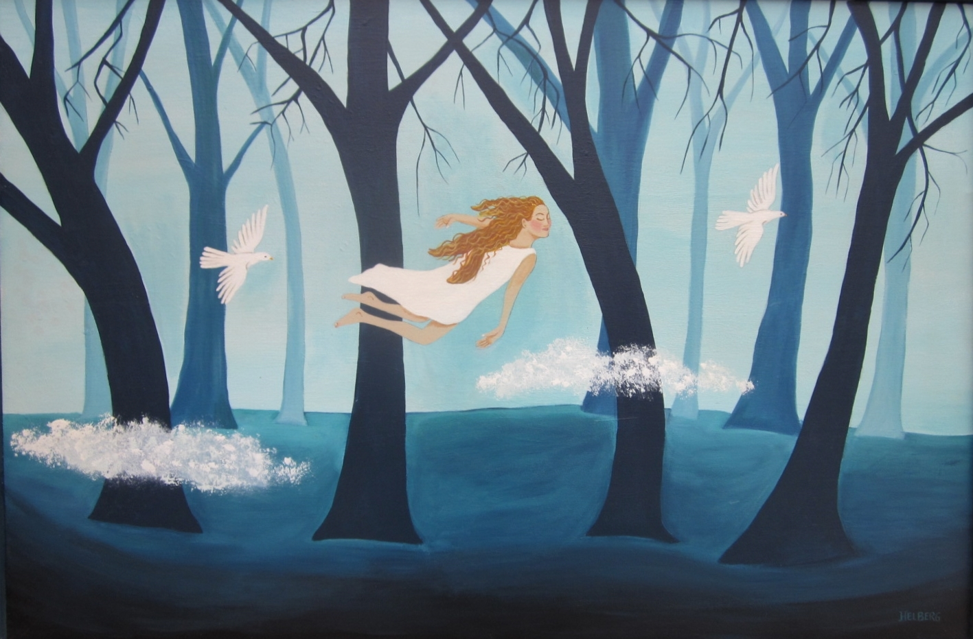 A dream scene of a woman flying her her sleep with white doves.