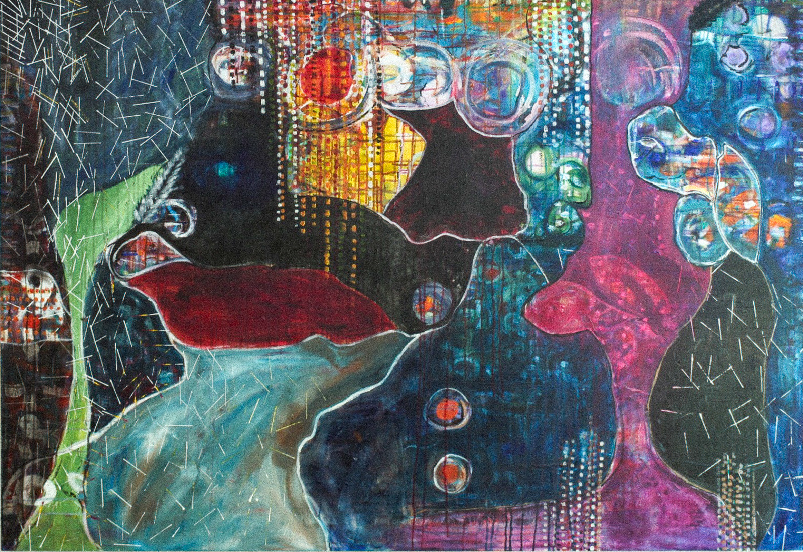Abstract painting with bold bubbles of color (dark blues and deep reds) with streams of bubbles falling down from the top