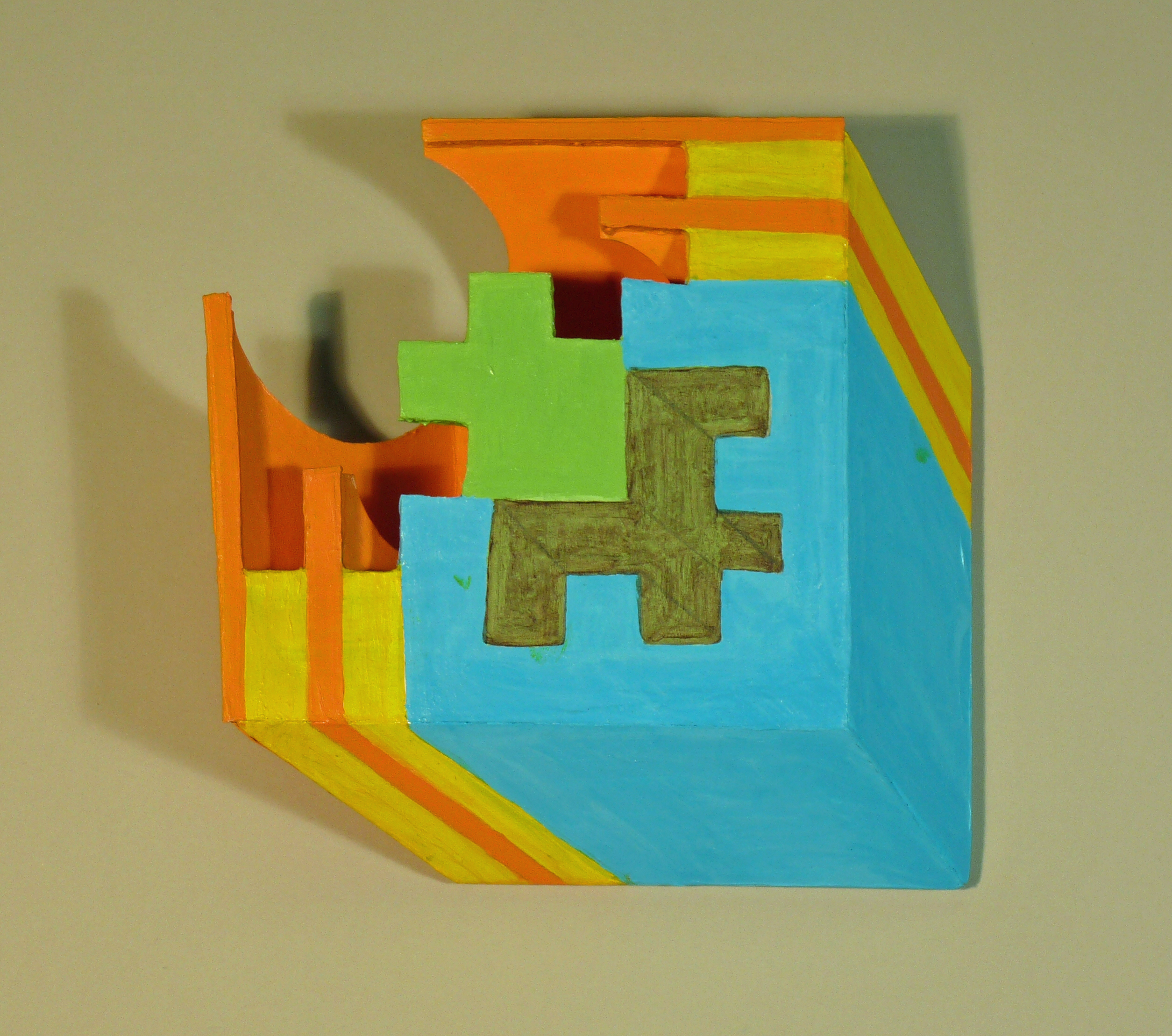 Three dimensional geometic abstraction, wall hung sculpture