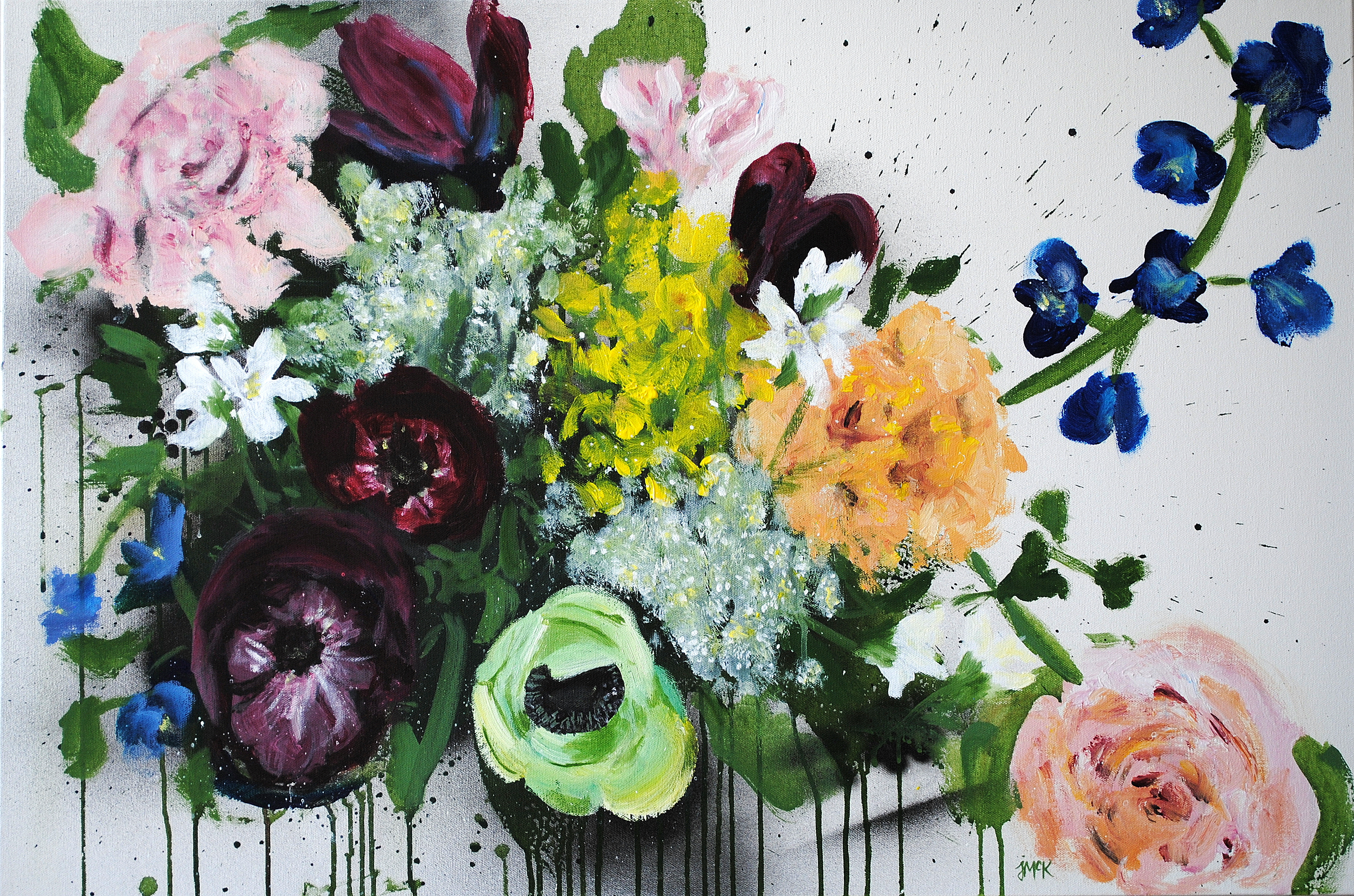 Colorful, abstract painting of a variety of flowers
