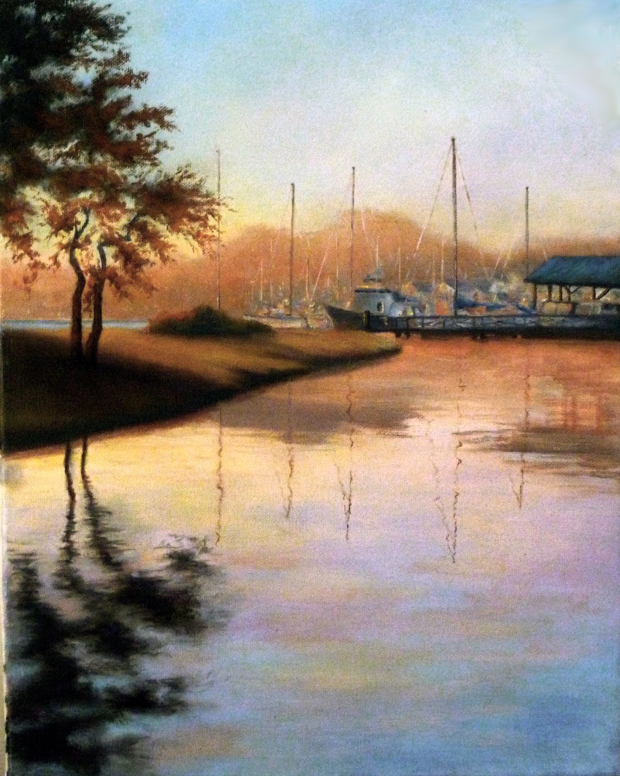 Original oil painting of the St. Michaels harbor at sunset