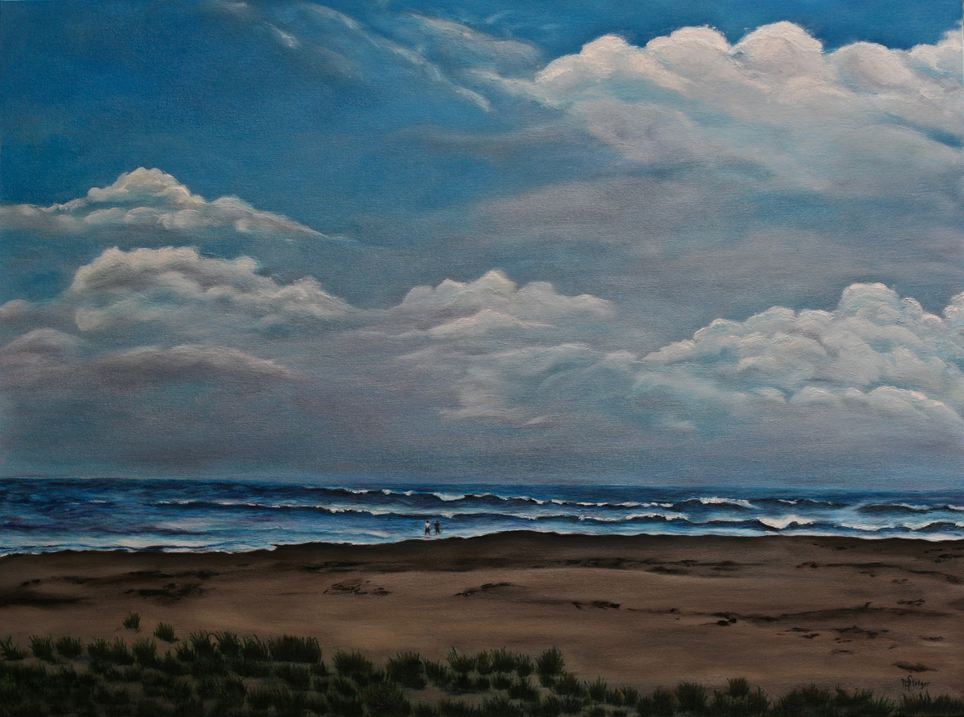 Beach landscape in oil on canvas.