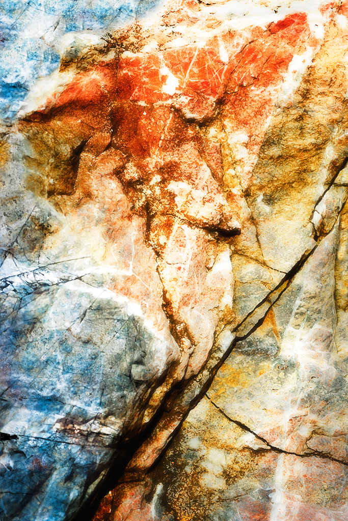 Photo close-up of rock and manipulated colors created to respond to a poem about Georgie O'Keefe.
