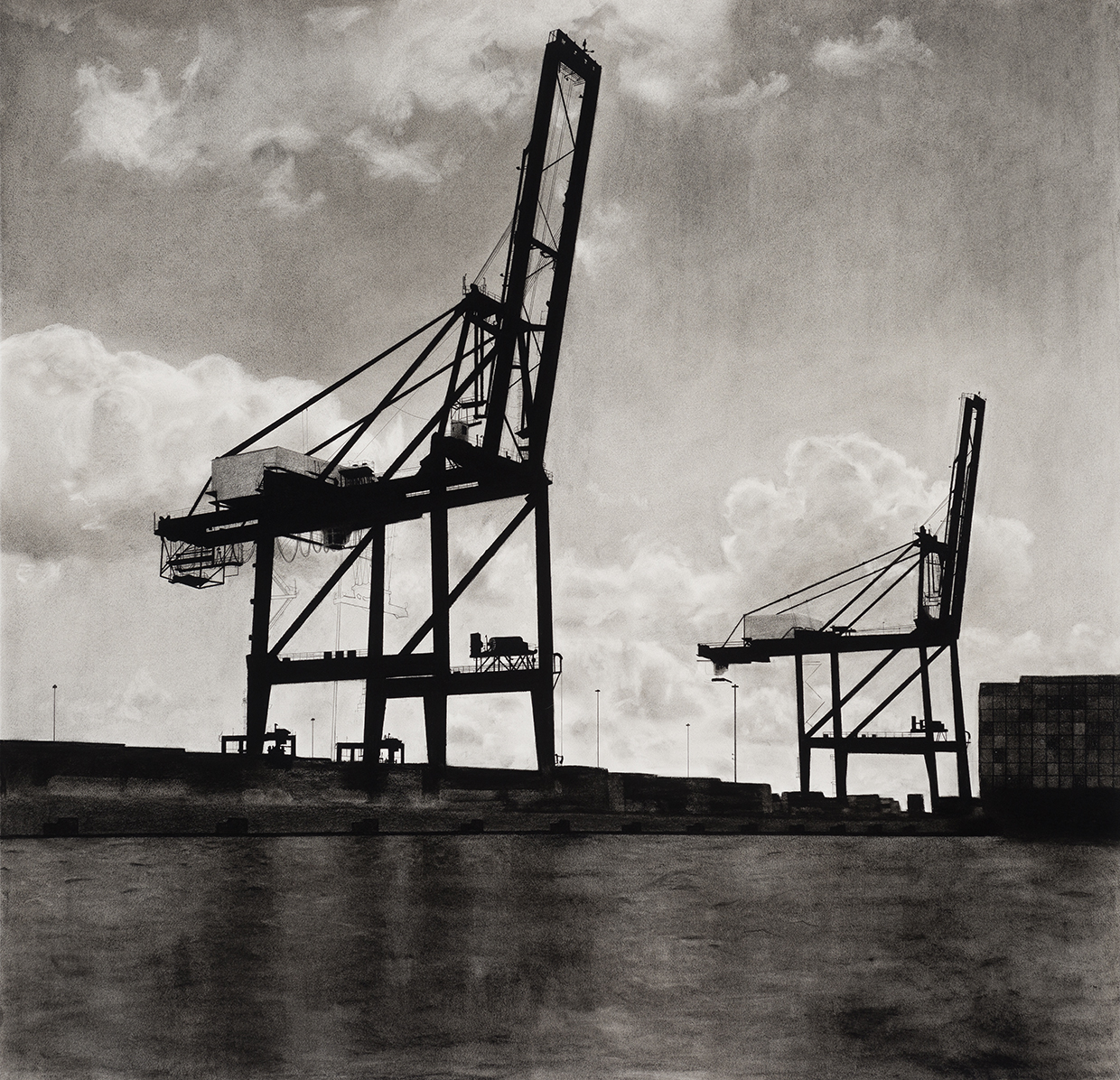 Charcoal drawing of Baltimore cargo cranes