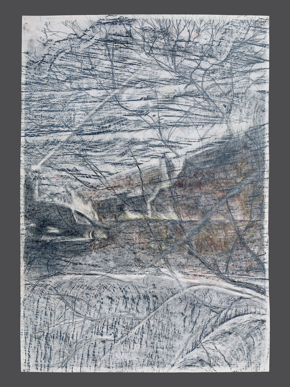 "alt=""drawing, graphite, image layered over text, The Camp Fire in California & Baltimore City fires"