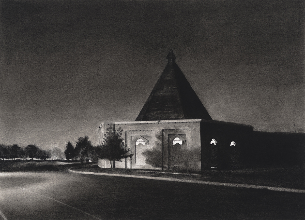 Charcoal drawing of Lake Montebello Pump House