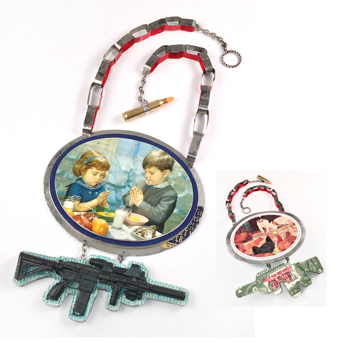 Necklace/breastplate statement piece about gun violence