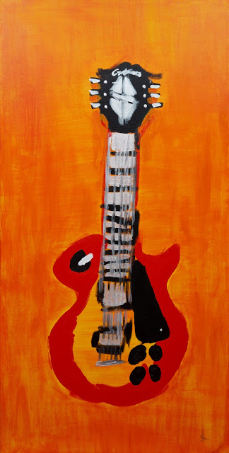 To My Ears (RTunes68, Ravi Raman) Expressionist painting of Gibson Les Paul guitar