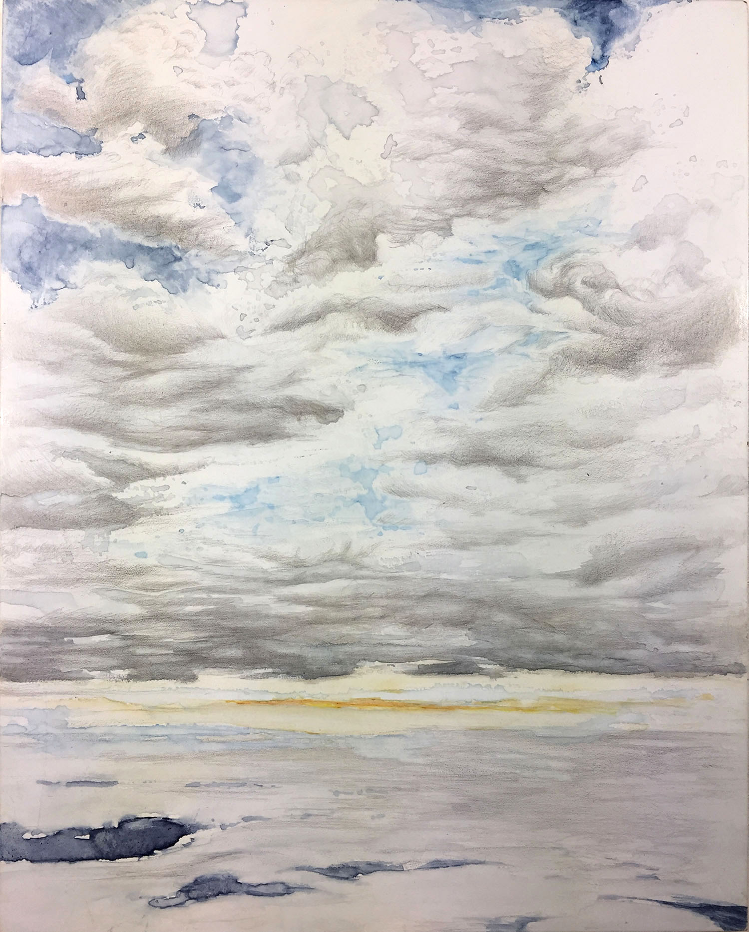 """Tomorrow is Another Day"" watercolor and silverpoint on panel that puts the viewer between two cloud banks at sunset."