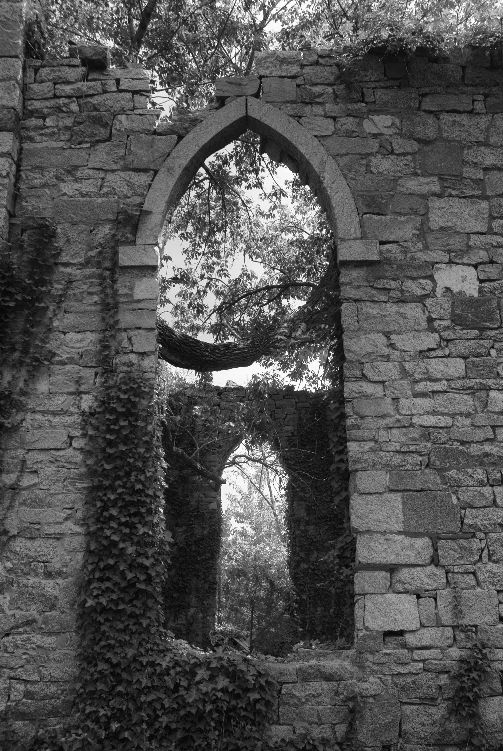 black and white photo of church ruins