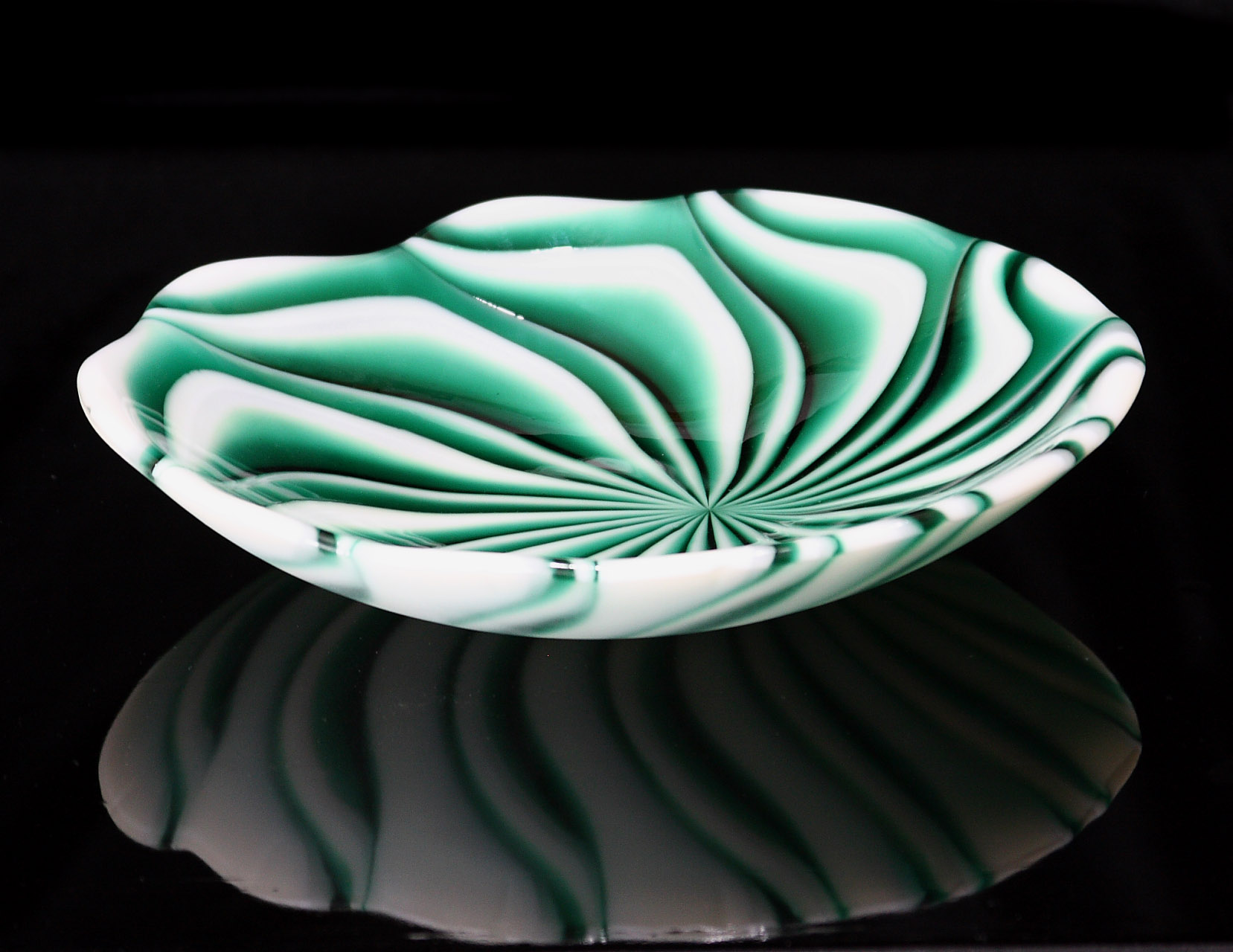 Fused glass spiral bowl