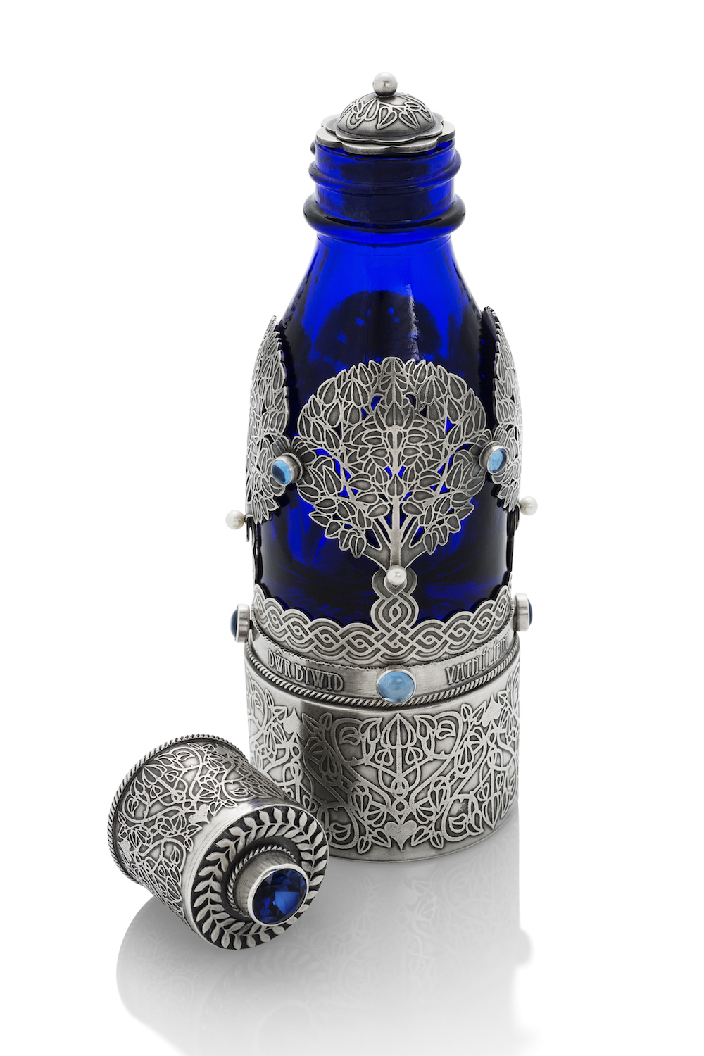 Vicks Vatronol bottle, Sterling silver, sapphire, fresh water pearls, spring water, organic apple seeds