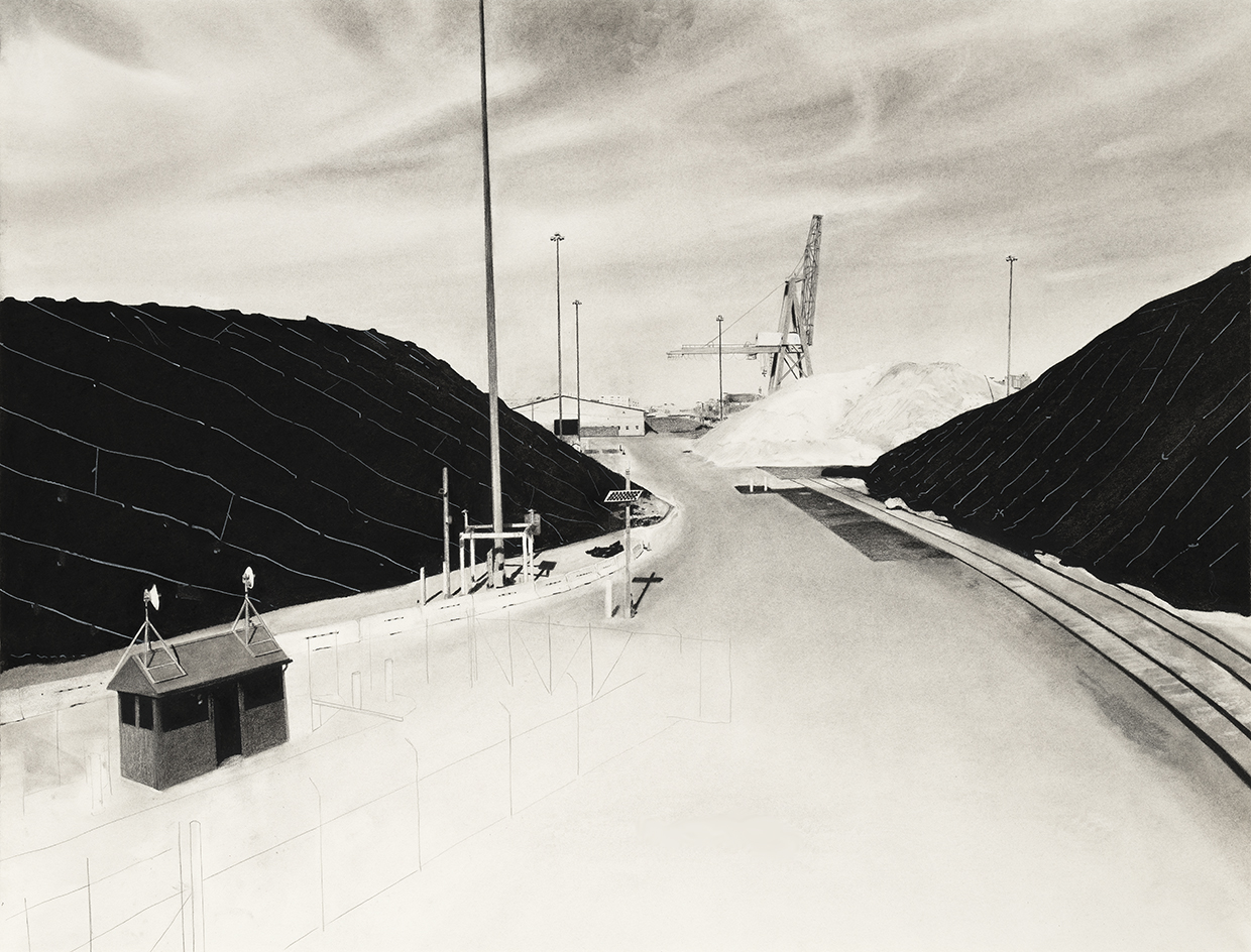 Charcoal drawing of Baltimore salt piles