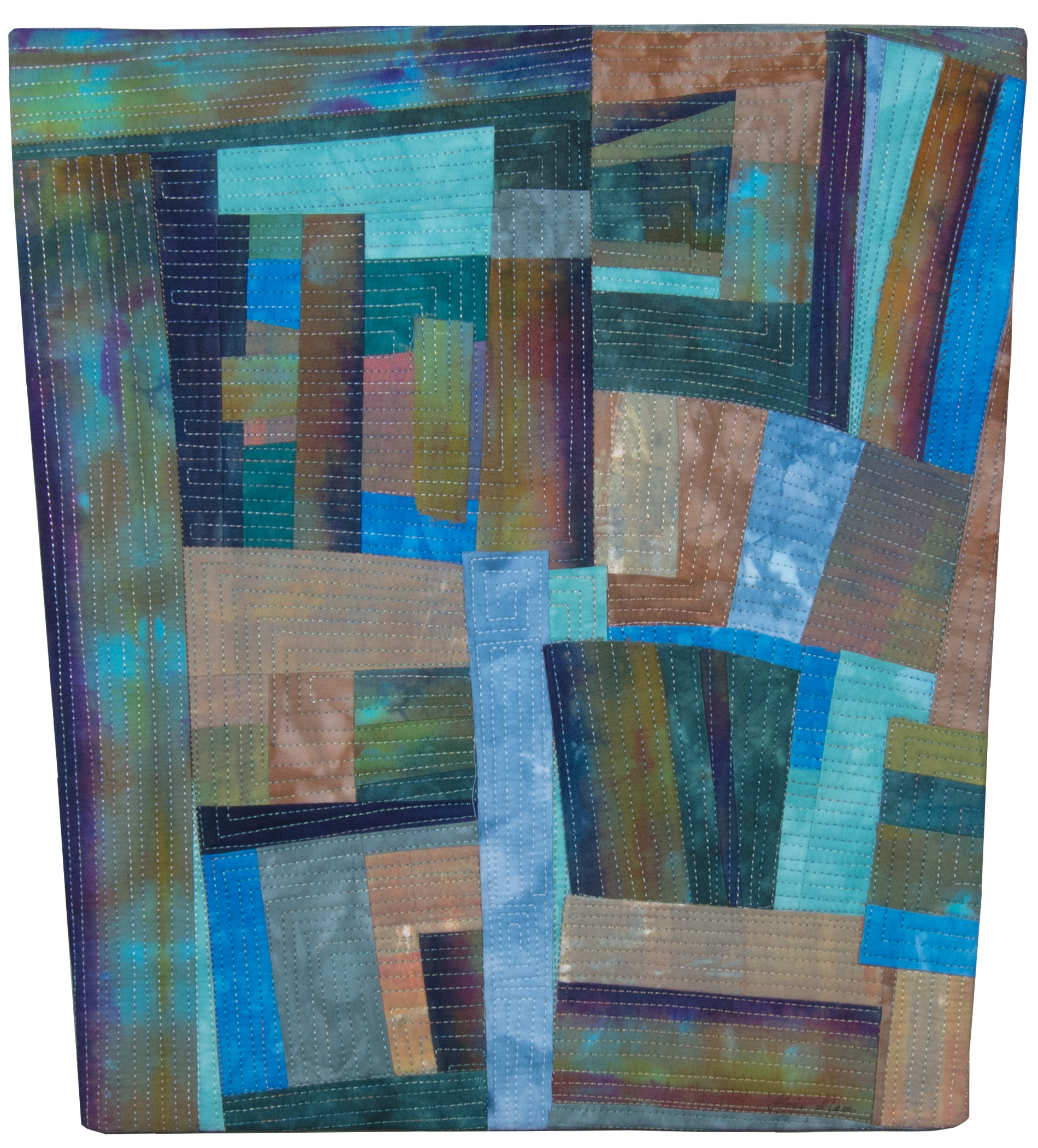 stitched fabric collage