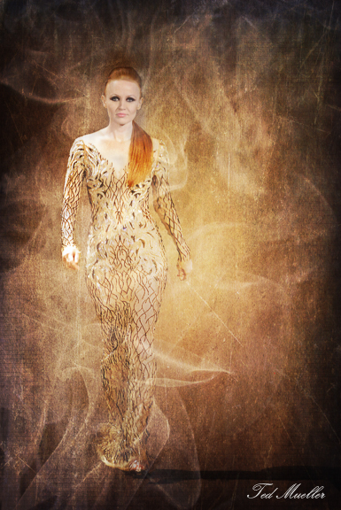 Model on Runway with texture overlay