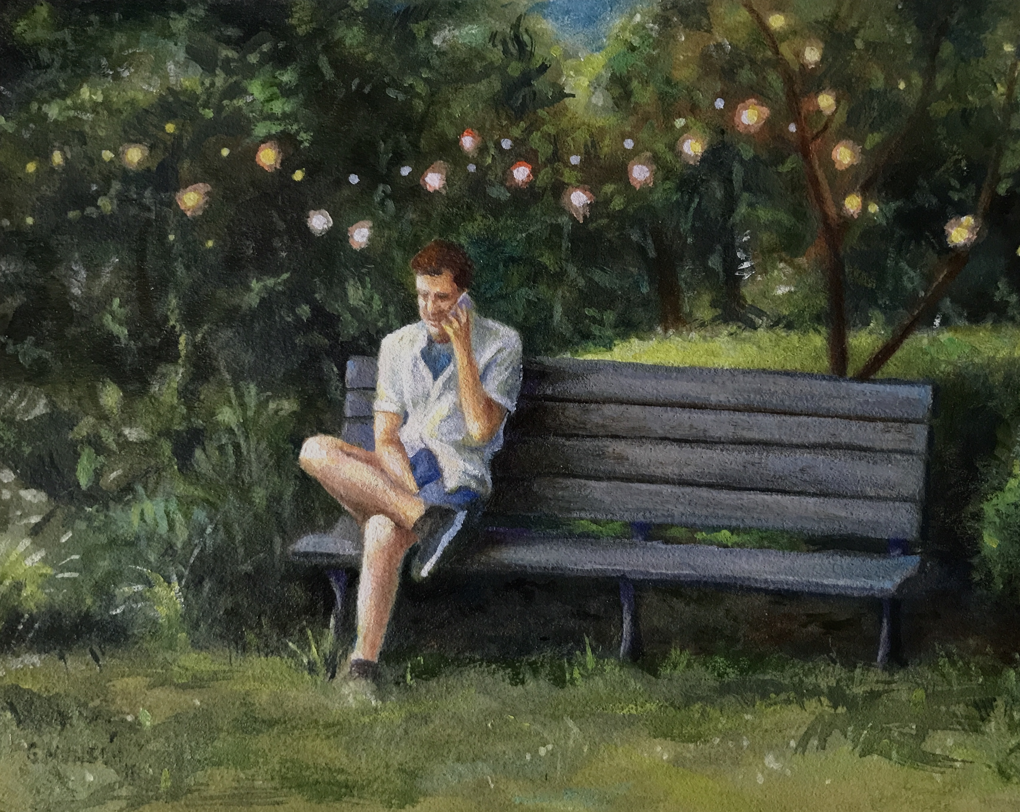 Scenic painting of a man on a bench at a garden party