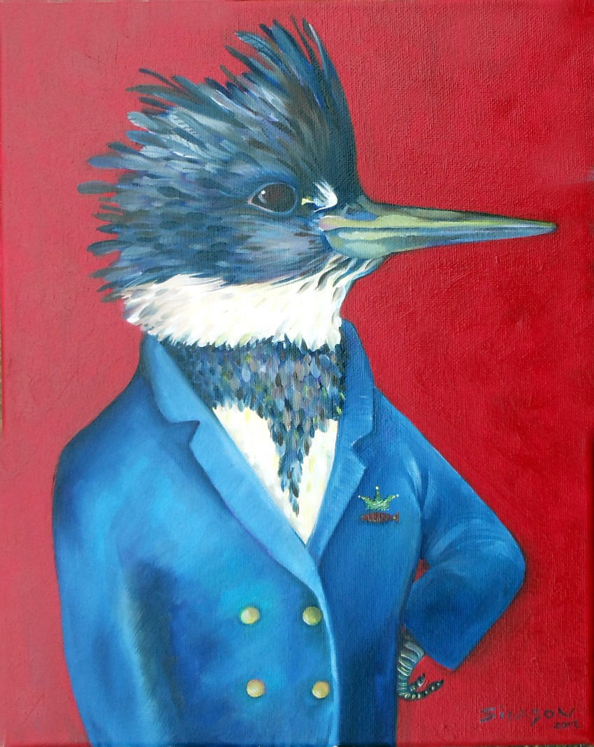 painting of a handsome kingfisher wearing a blue captain's jacket with small emblems of a crown and fish