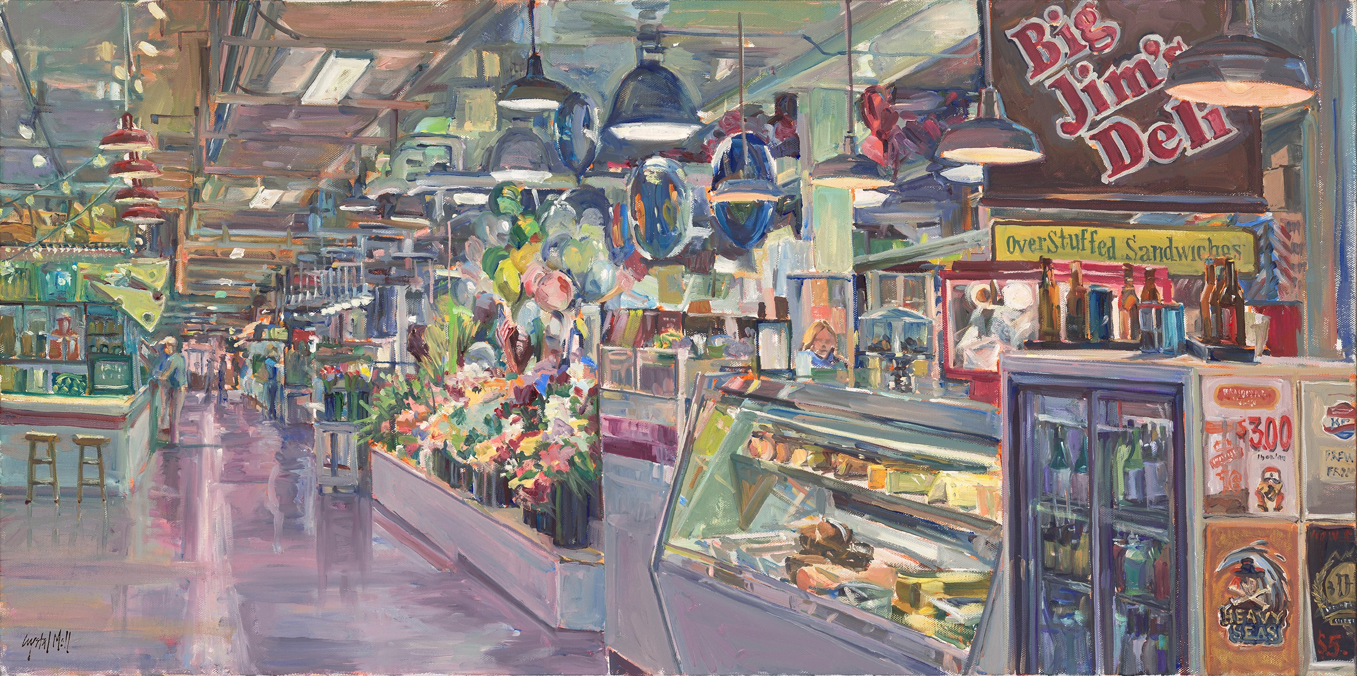 """Our Market"" is an oil on canvas which was painted on location. This piece required several visits to complete."