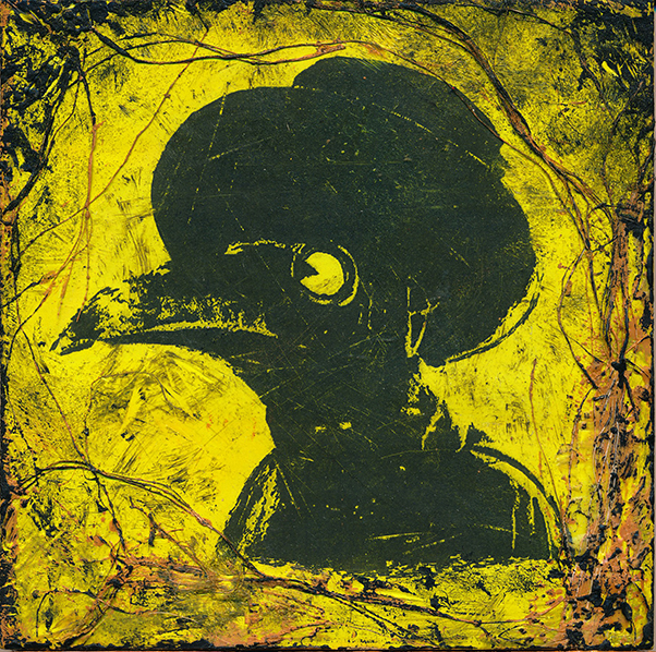 Black Graphic of a Doctor Wearing a Bird Mask and Hat on a Neon Green Background with Scratchy Black Border