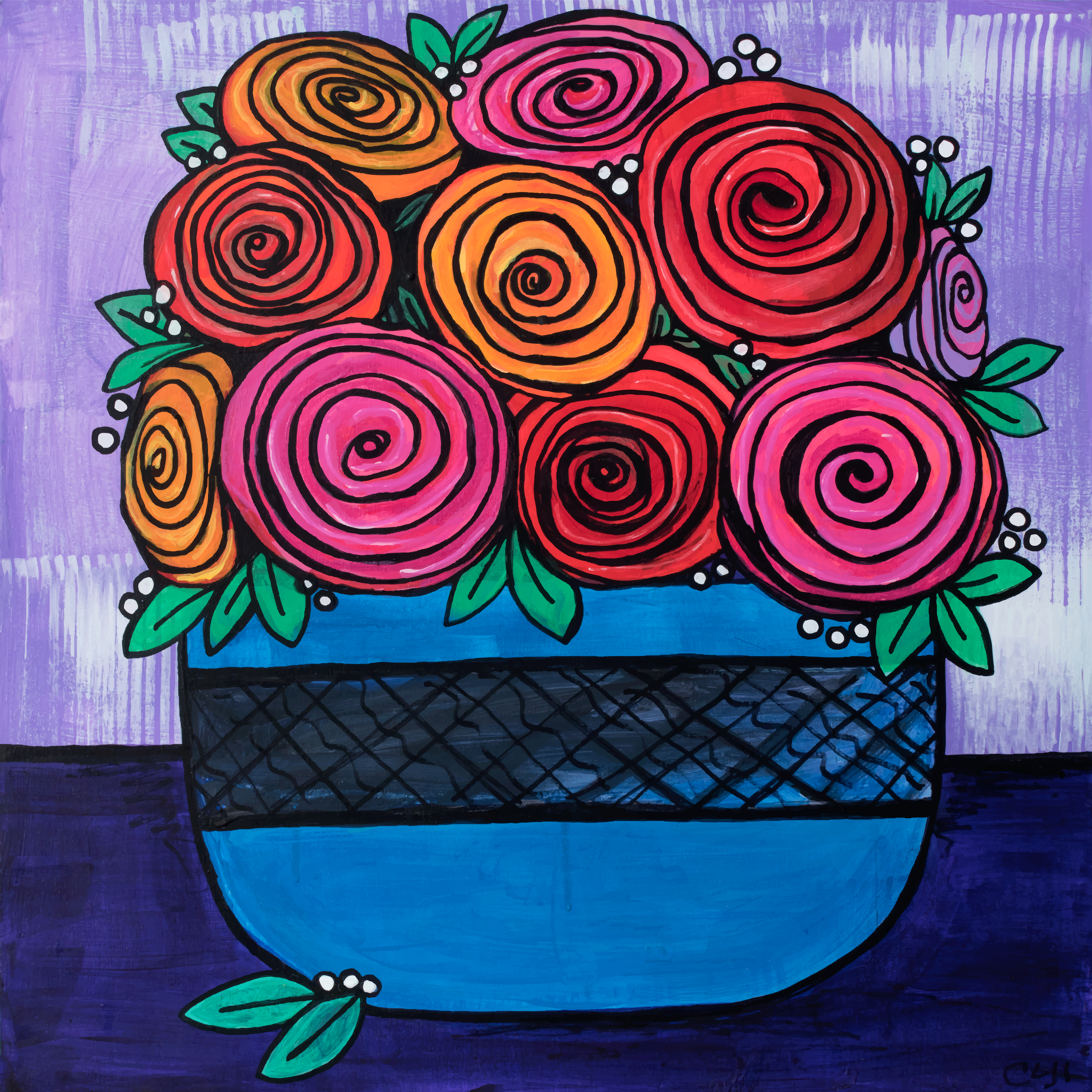 Bowls of Roses by Claudine Intner
