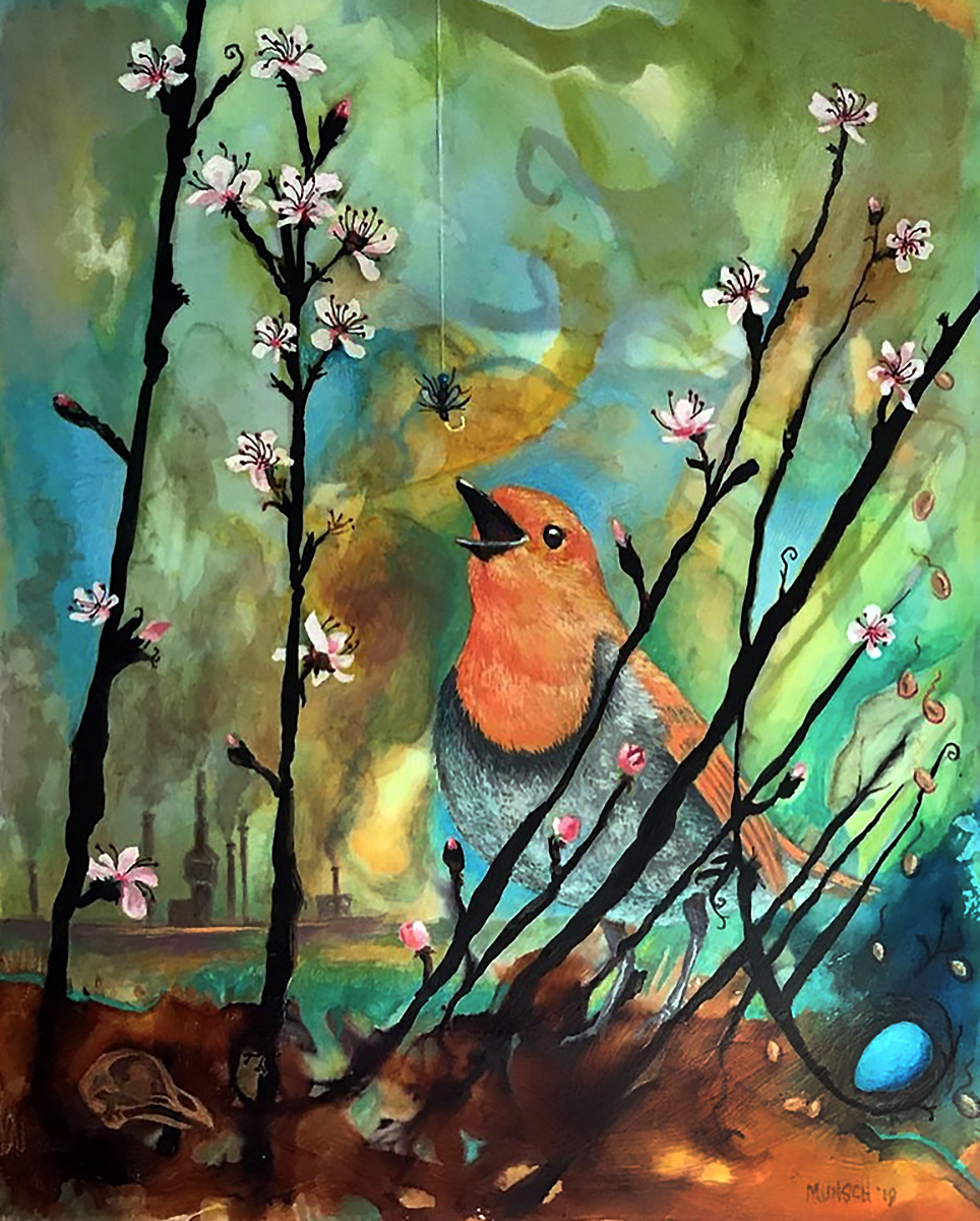 A mixed media colorful painting of blossoms, a spring robin and man-made effect that are changing the climate
