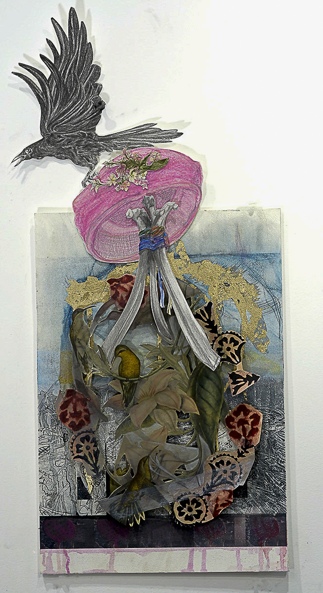 an abstracted photo with humming bird cutouts, crow grabbing a women's hat