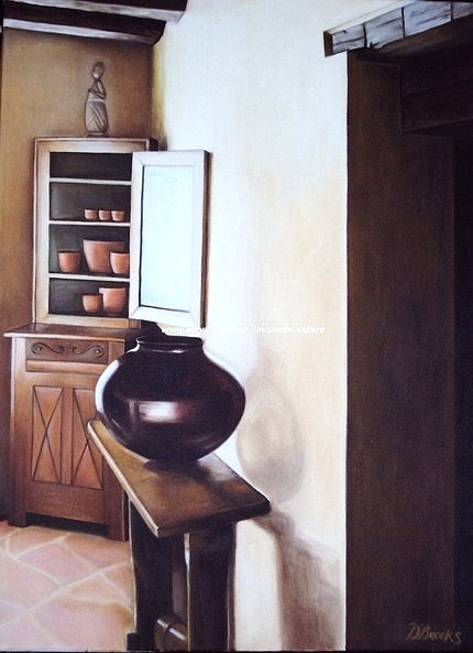 Painting of a kitchen cupboard with a vase on a wood table