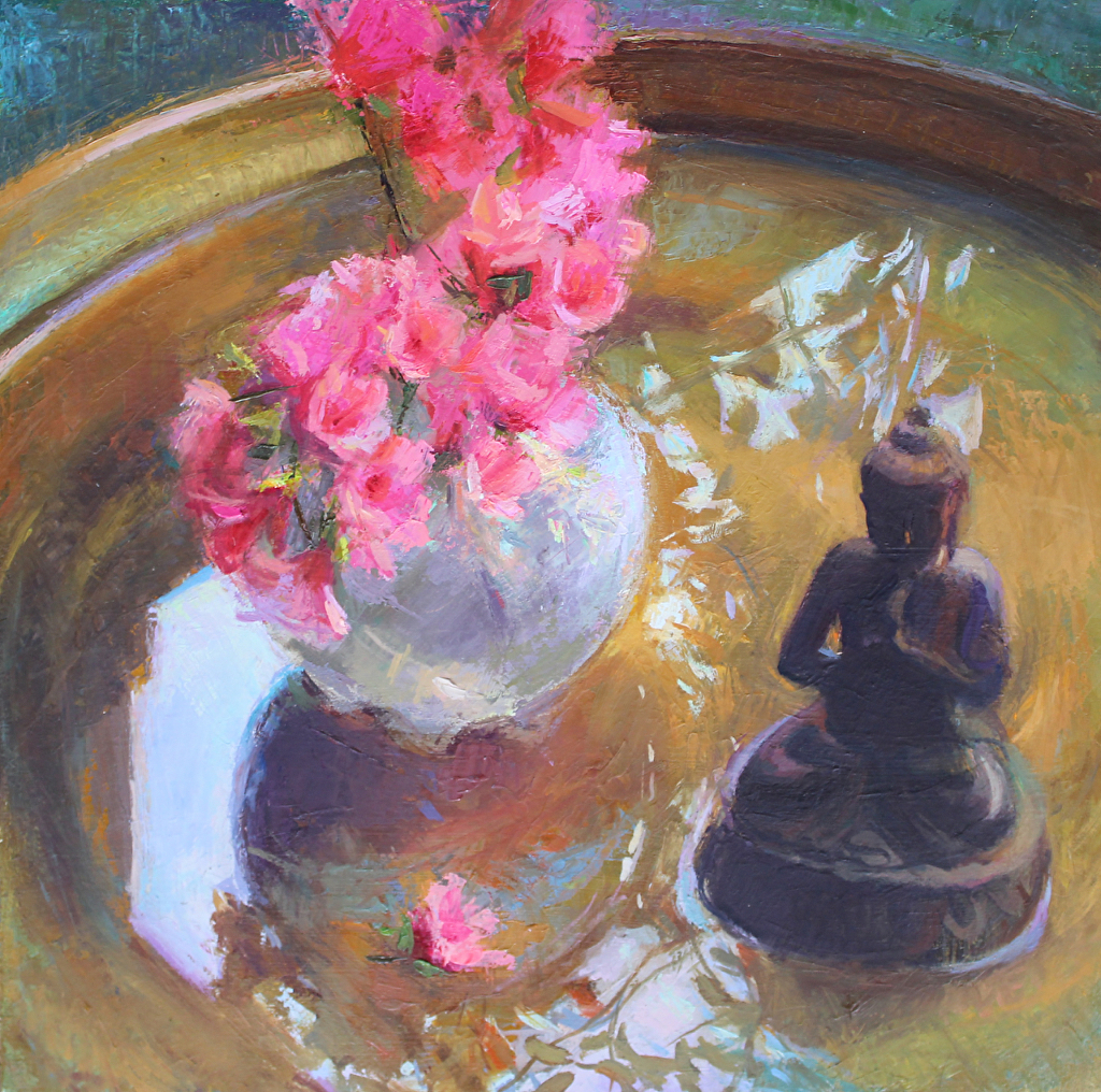 Still life oil painting, buddha and azaleas