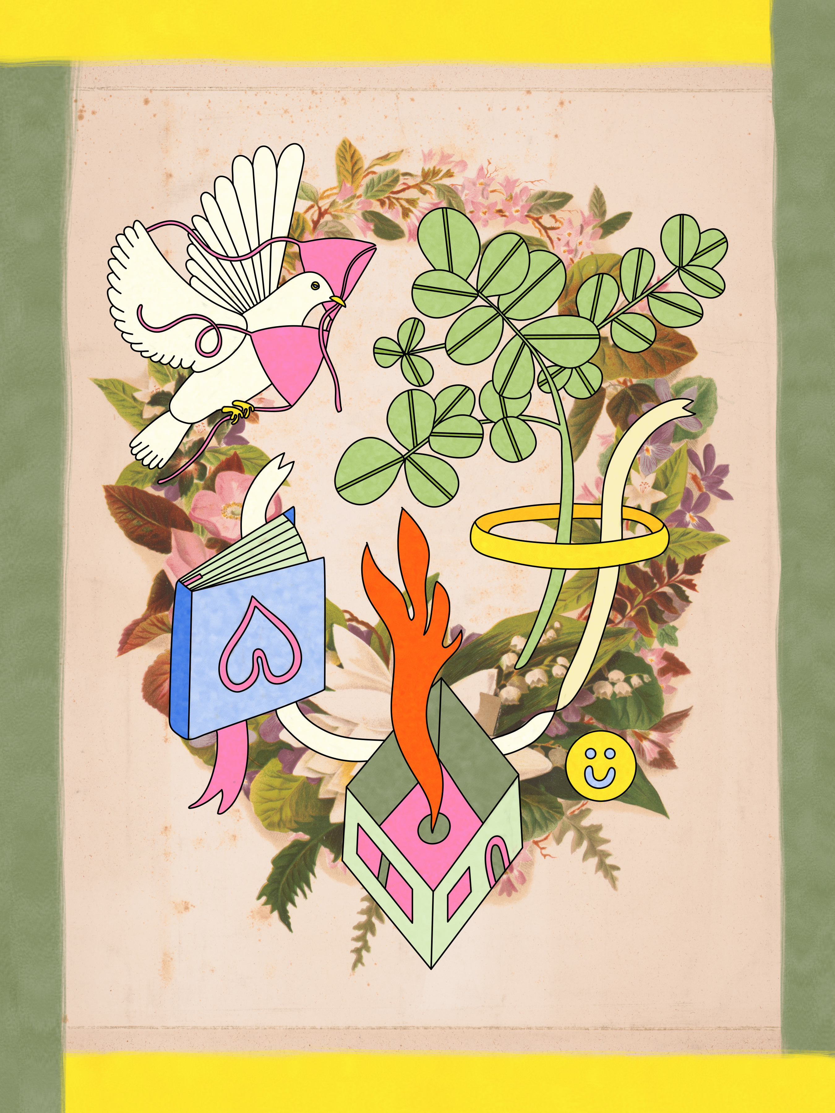 Digital print of dove, book, leaves, ribbon, ring, and burning house