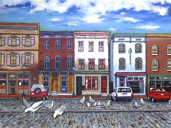 acrylic baltimore city landscape