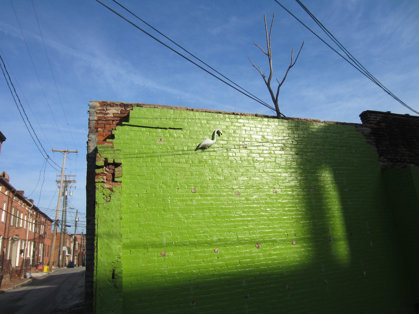 green wall with a white flamingo, alley view