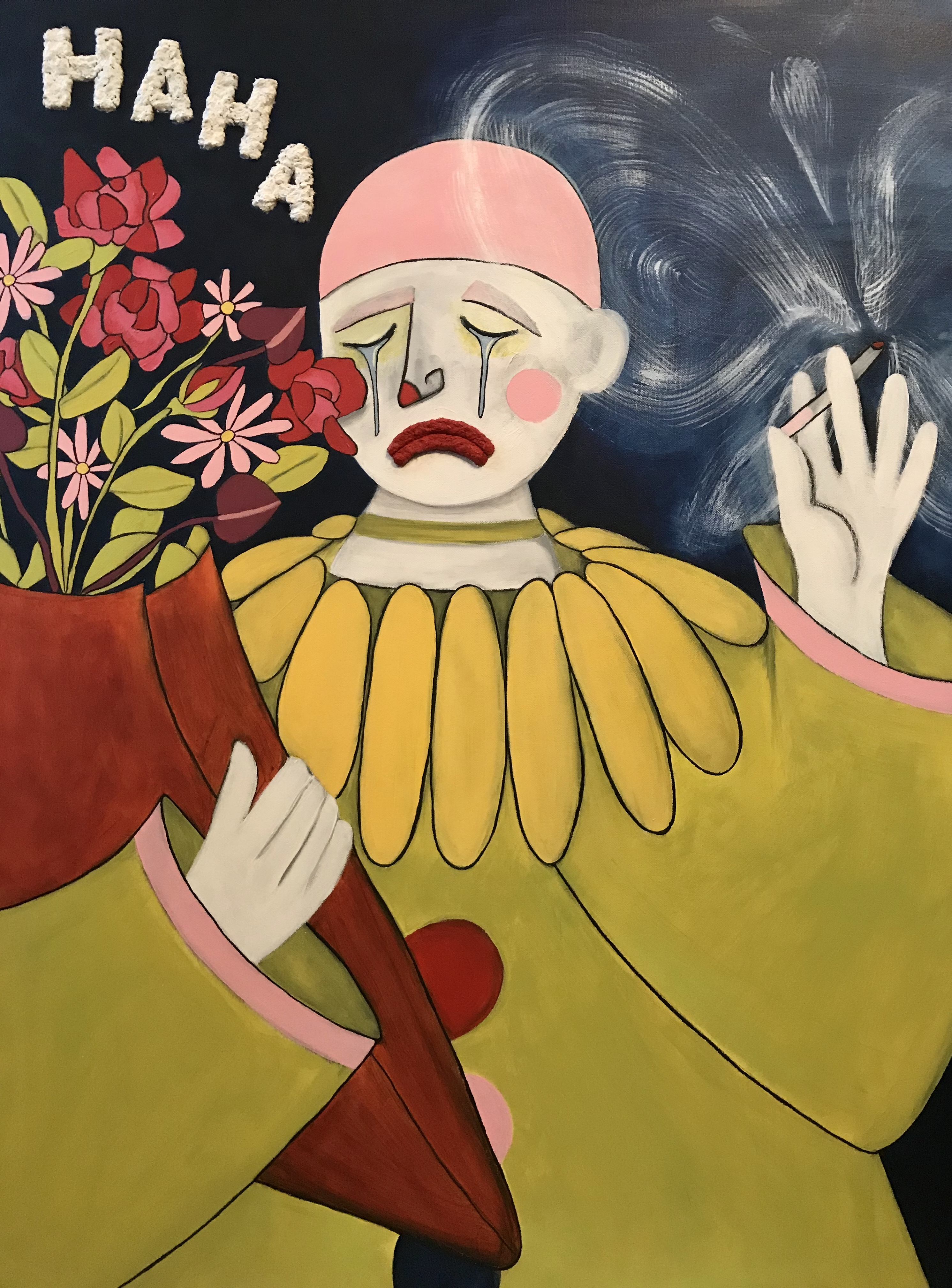 Painting of a sad clown holding a bouquet of flowers