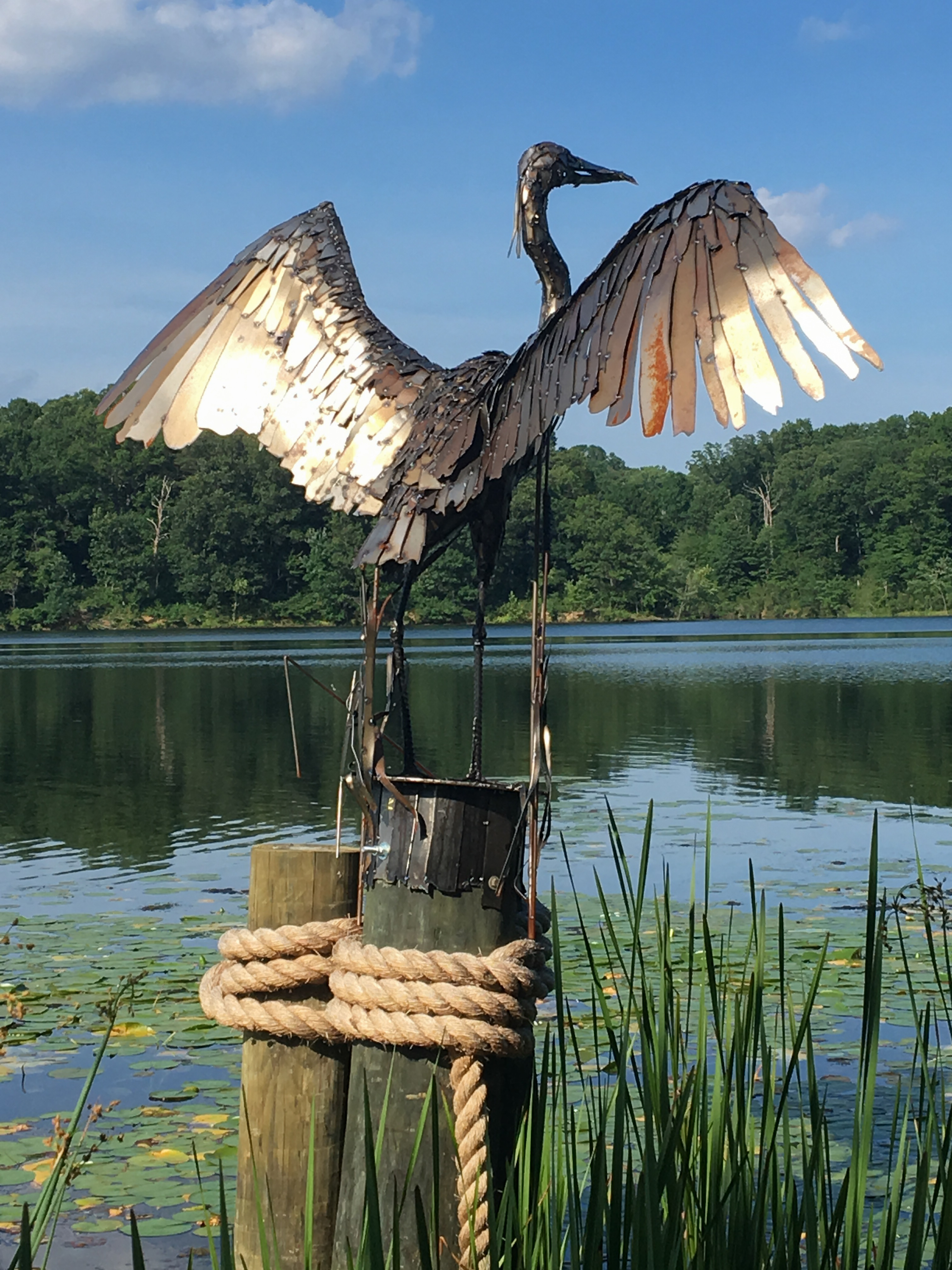 Steel sculpture of a Great Blue Heron