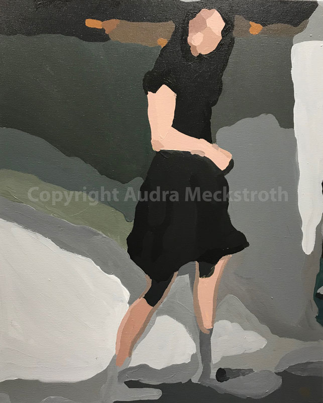 Monochromatic figure emerging from a gray background