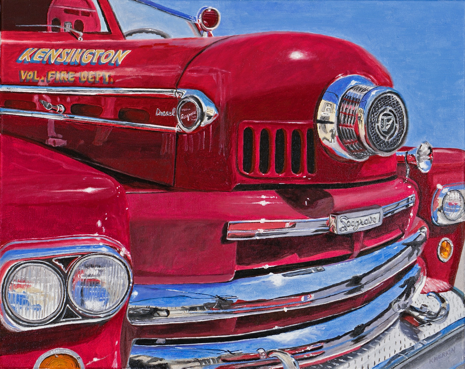 Photo-Realistic painting of the old Kensington fire truck.