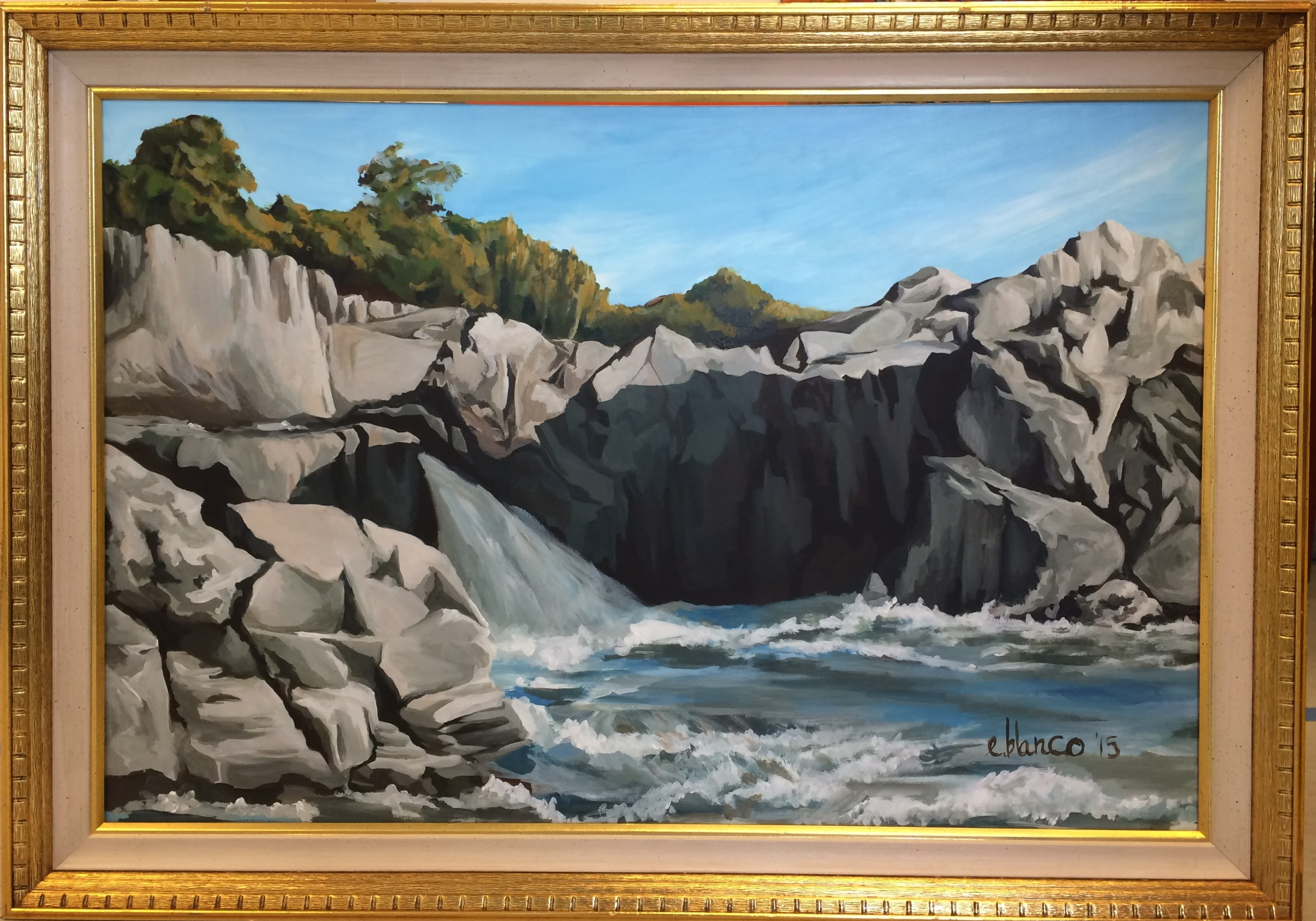 Acrylic landscape based off a point at Great Falls, Virginia