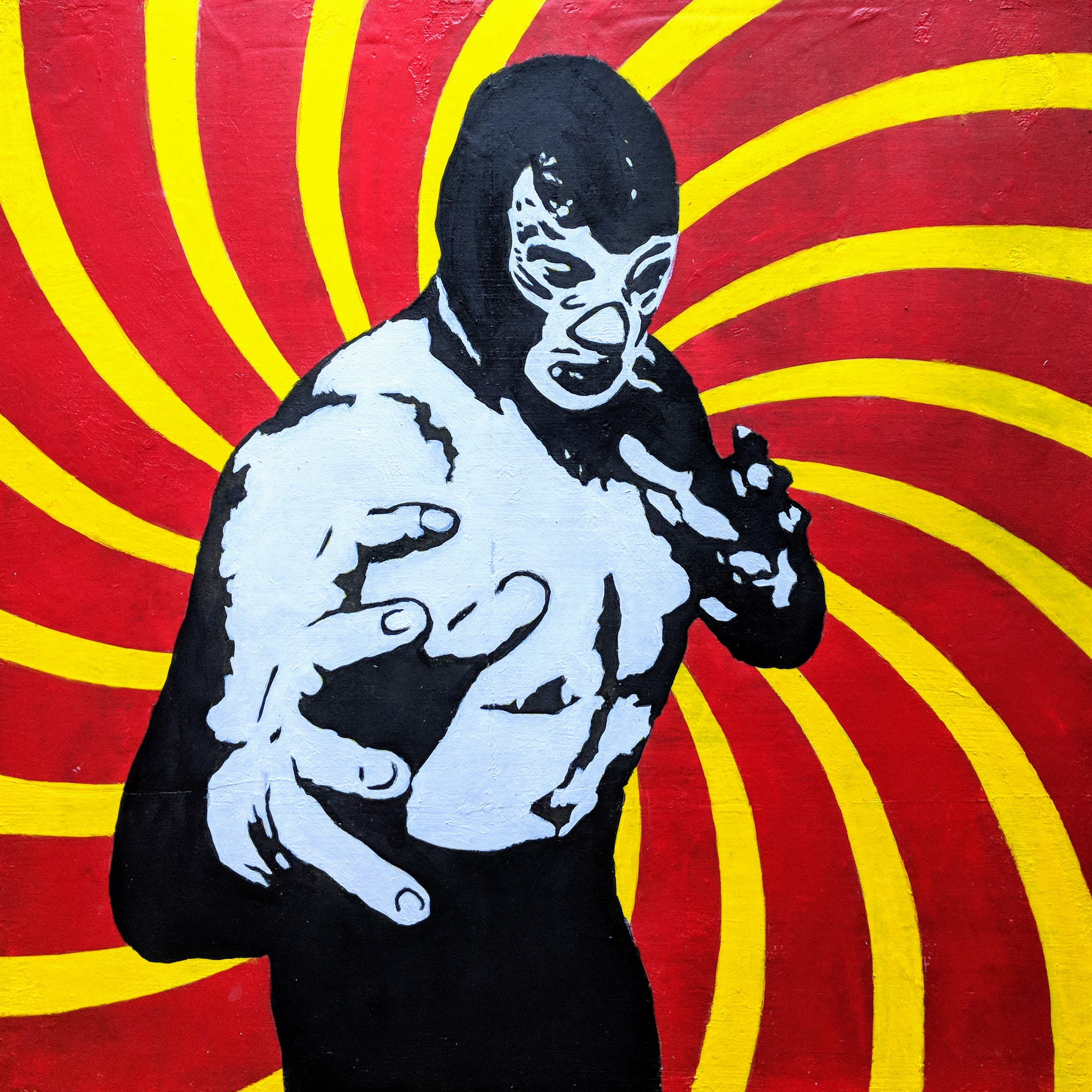 Black and White Graphic Image of a Lucha Libre Mexican Wrestler on a Yellow and Red Spiral Background