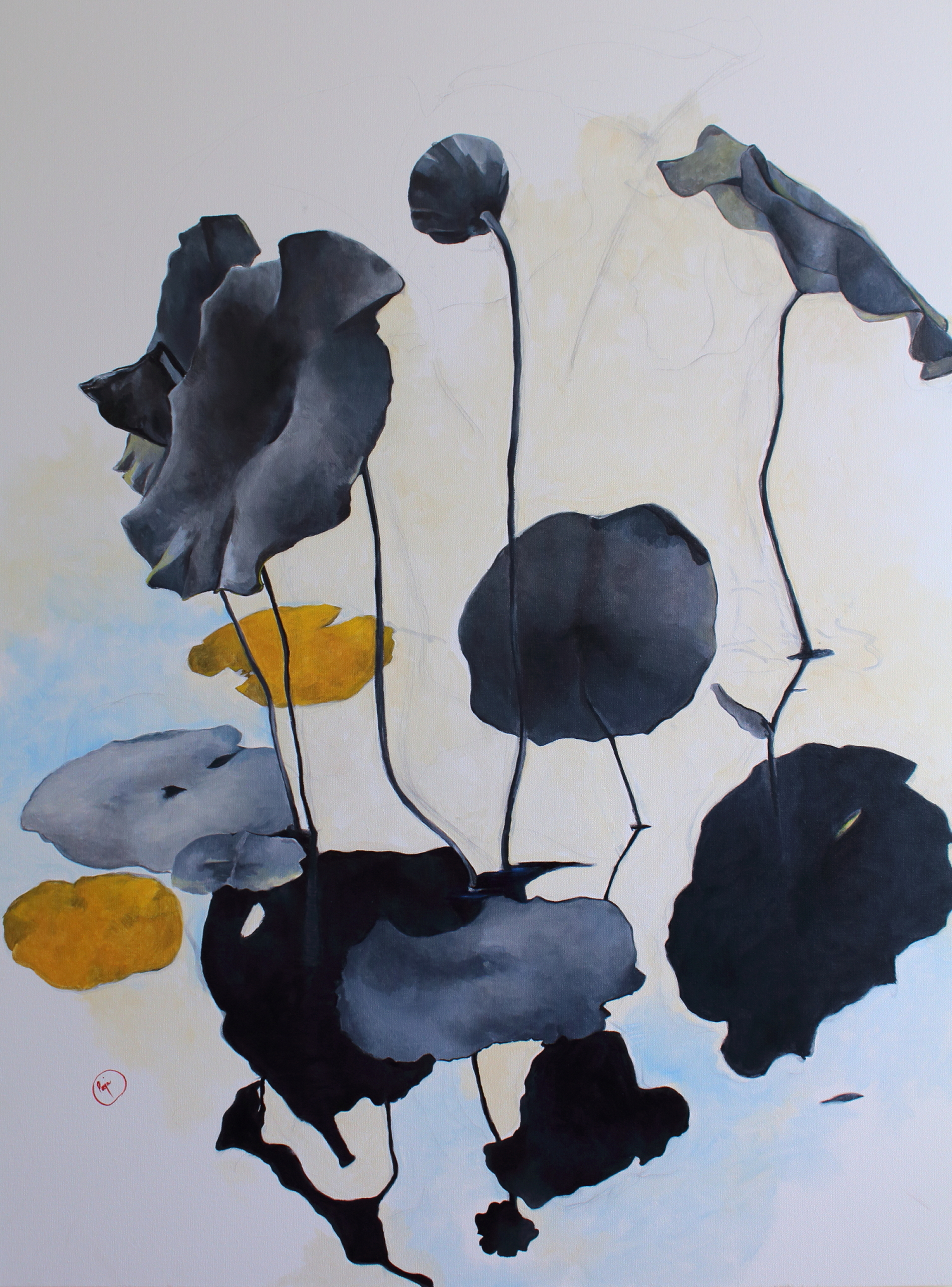 lotus painting, oil on canvas, contemporary art, botanical