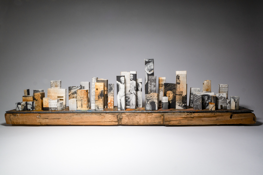 Miniature City made from pages of a book