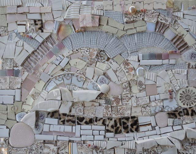 white mosaic of various materials