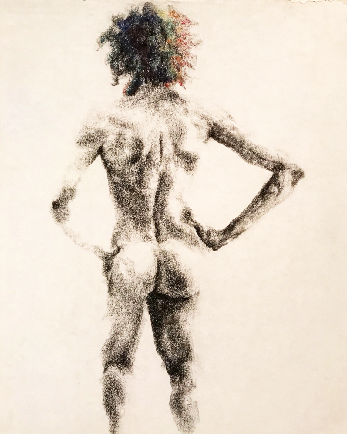 Figure drawing, male nude from the back