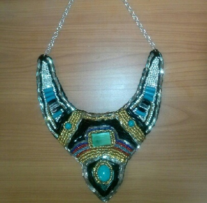 Beaded embroidery necklace.