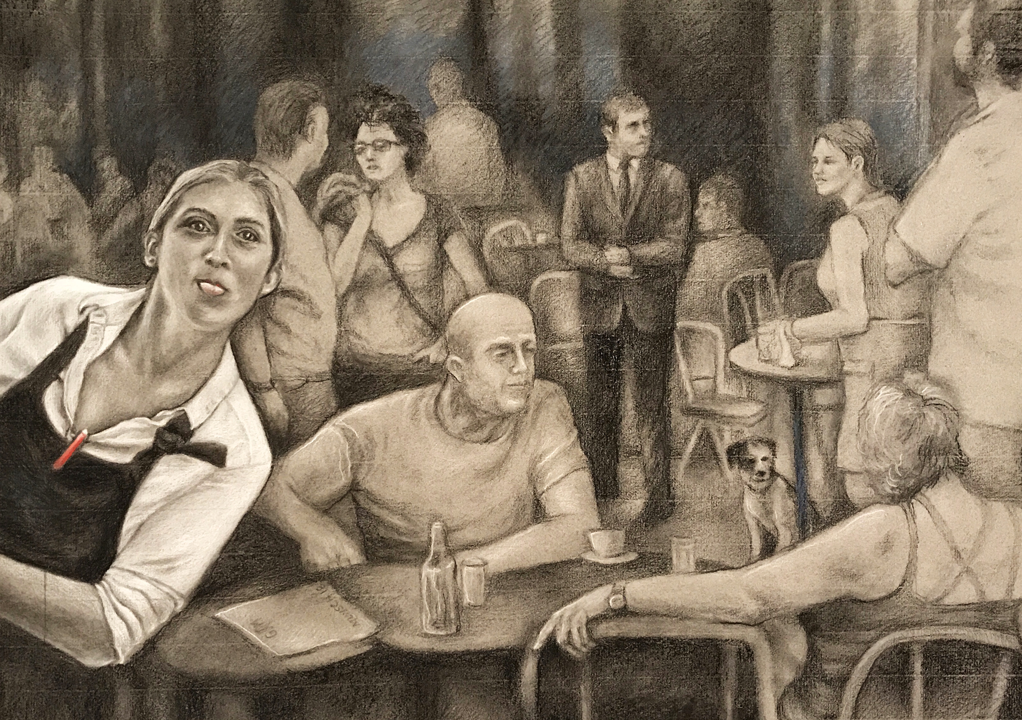Charcoal and pastel drawing of a Paris street scene and a waitress